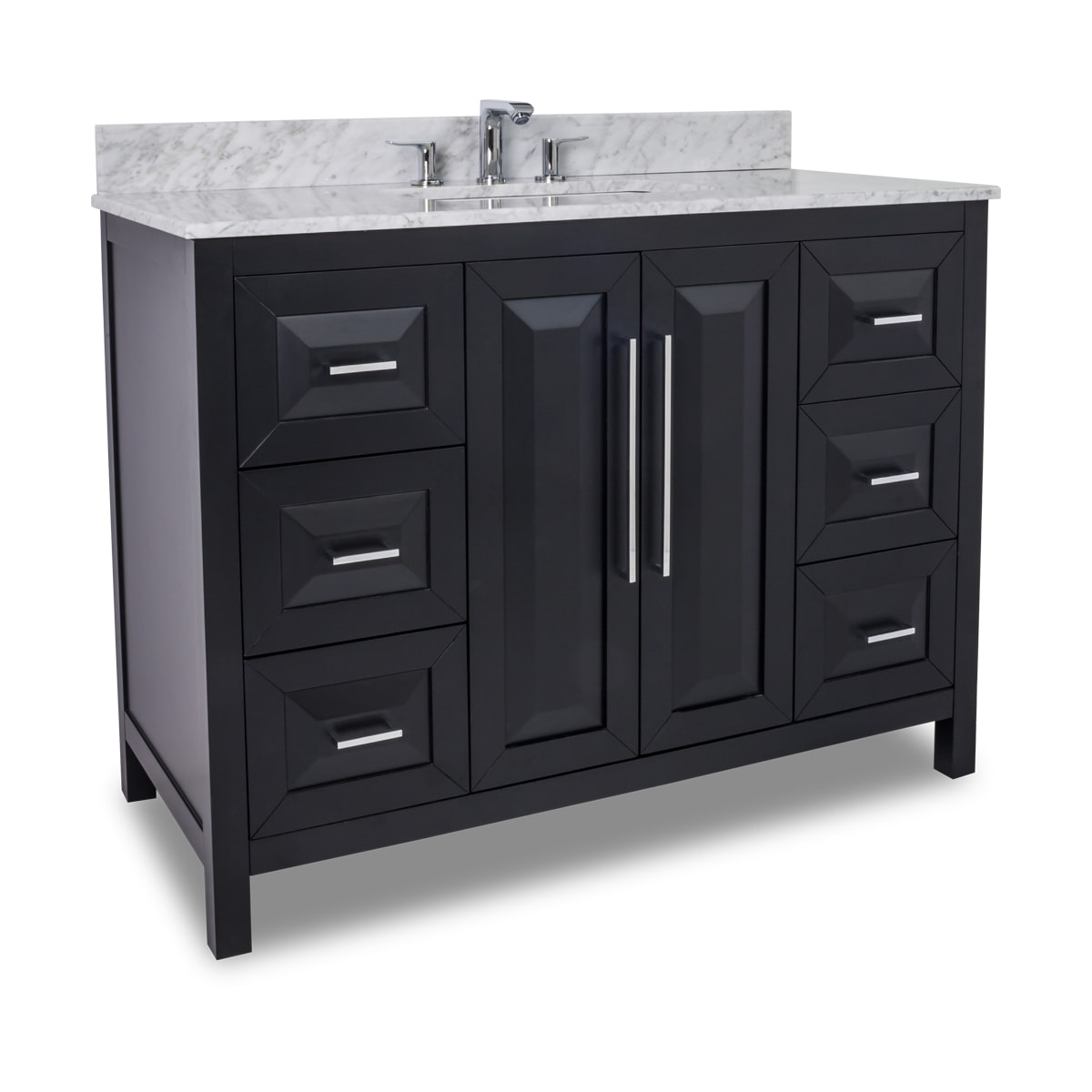 Jeffrey Alexander Van101 48 T Black Cade Contempo Collection 48 Inch Wide Bathroom Vanity Cabinet With Counter Top And Sink Faucet Not Included Faucetdirect Com