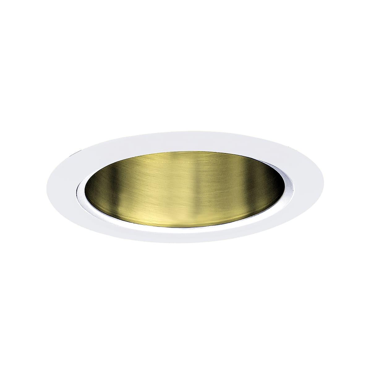Jesco Lighting Tm5510pbwh Polished Brass White 5 Inch Recessed Reflector Trim Lightingshowplace Com