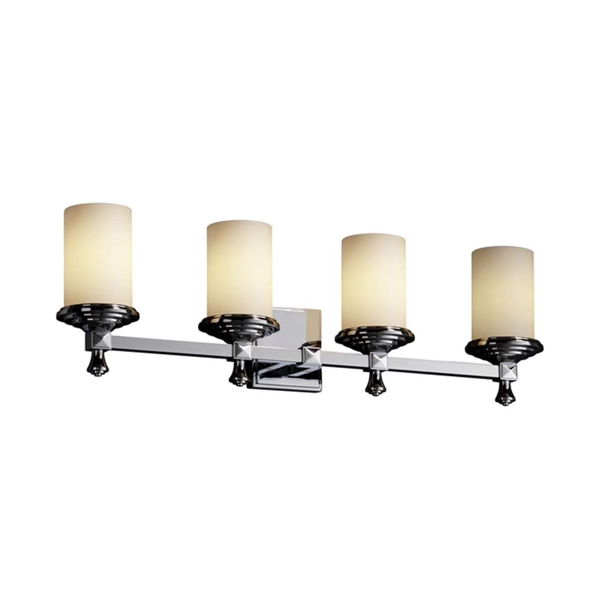 Justice Design Group Fusion 4-Light Chandelier Polished Chrome Finish with Opal Artisan Glass Shade