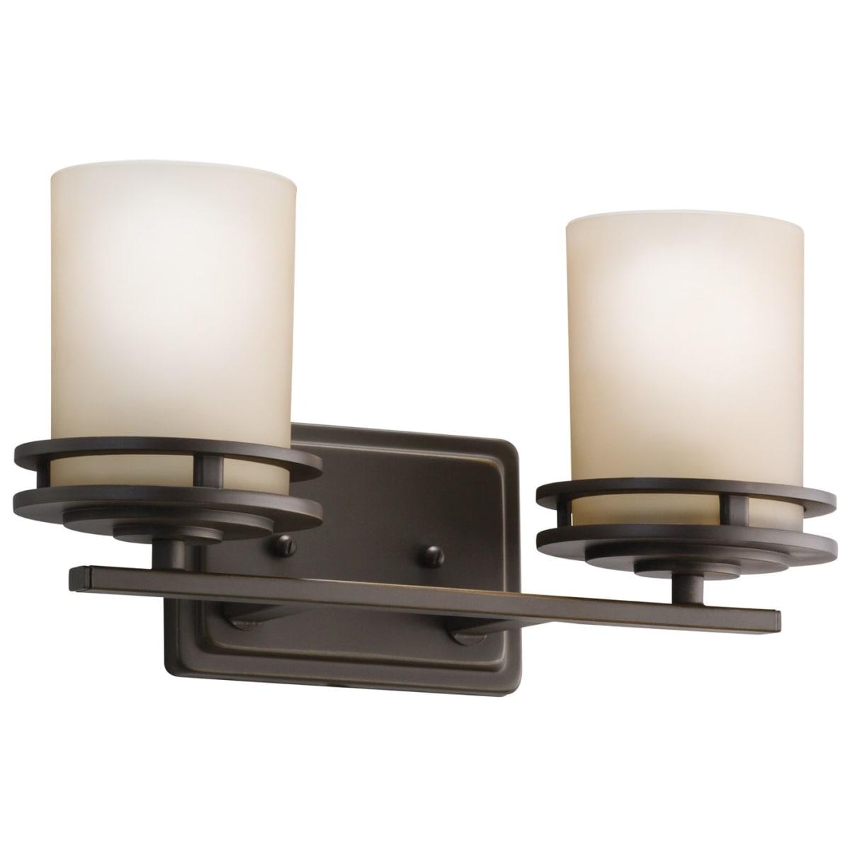 Kichler 5077oz Olde Bronze Hendrik 2 Light 15 Wide Vanity Light Bathroom Fixture With Satin Etched Glass Shades Lightingshowplace Com