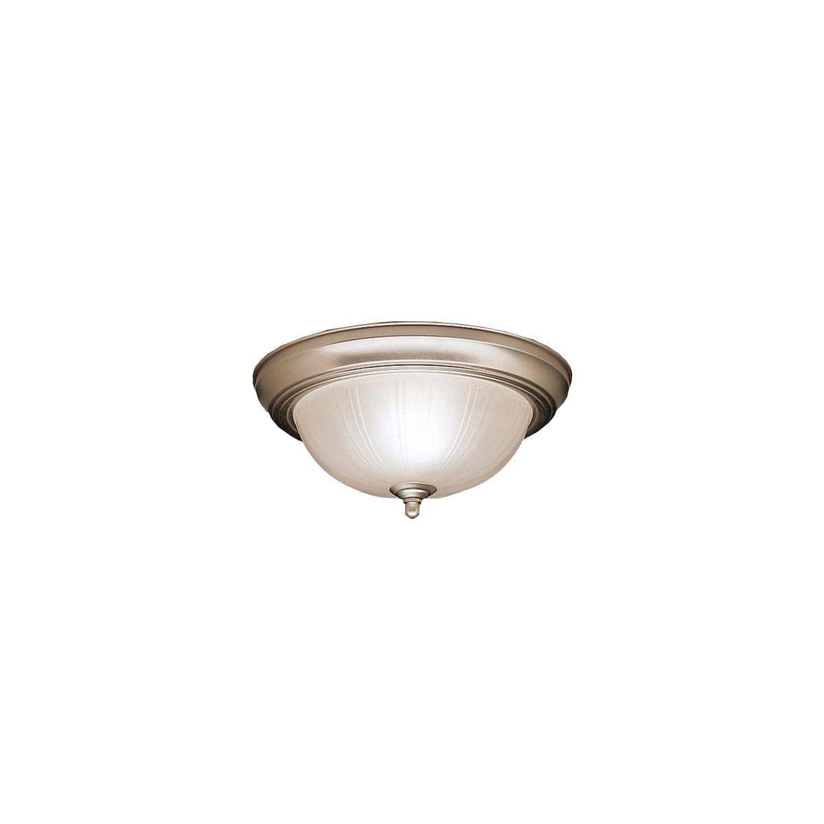 Kichler Brushed Nickel And Frosted Ribbed Glass Flush 2 Light Ceiling Fixture