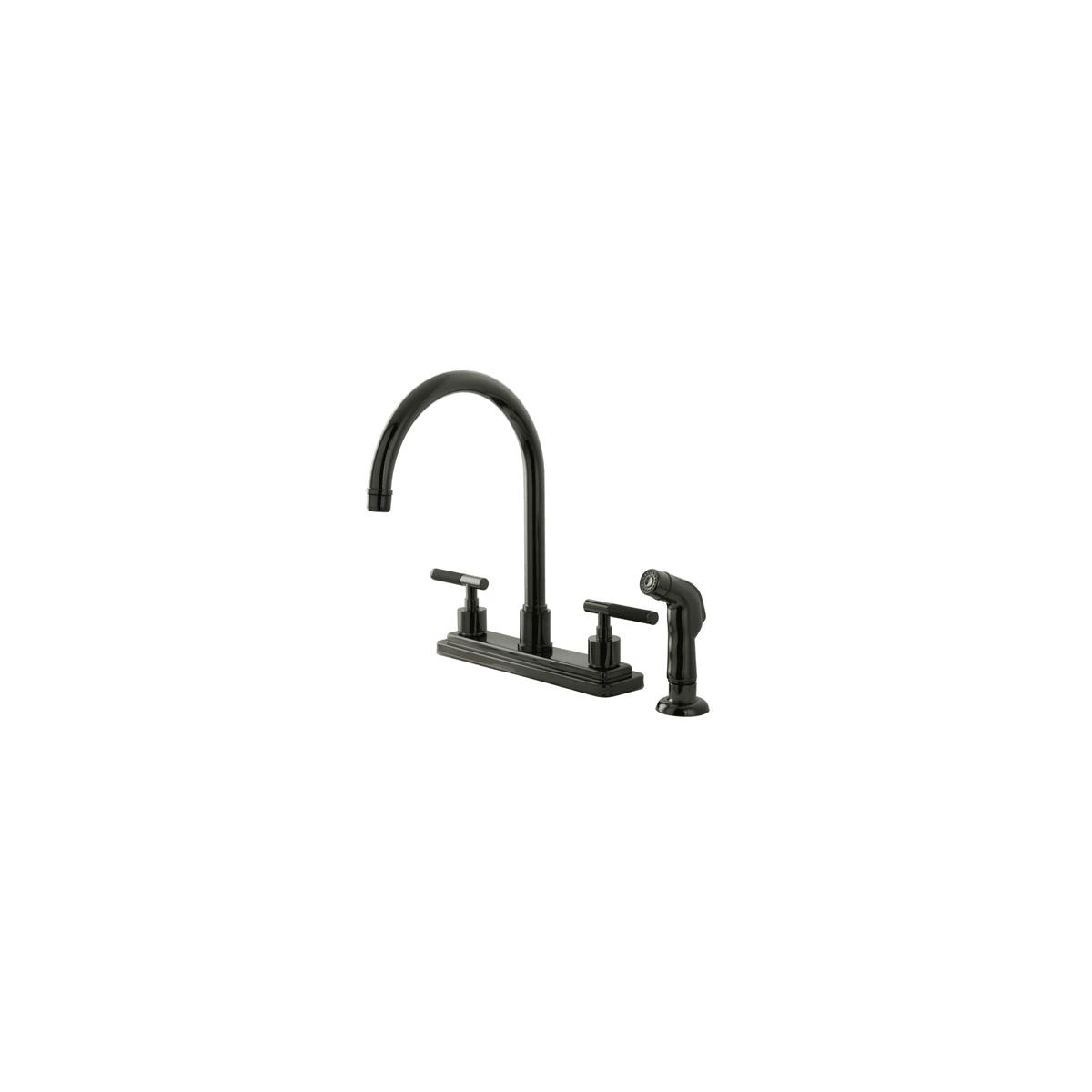 Kingston Brass Ns8790dklsp Black Onyx Water Onyx Brass Kitchen Faucet Includes Side Spray Faucet Com