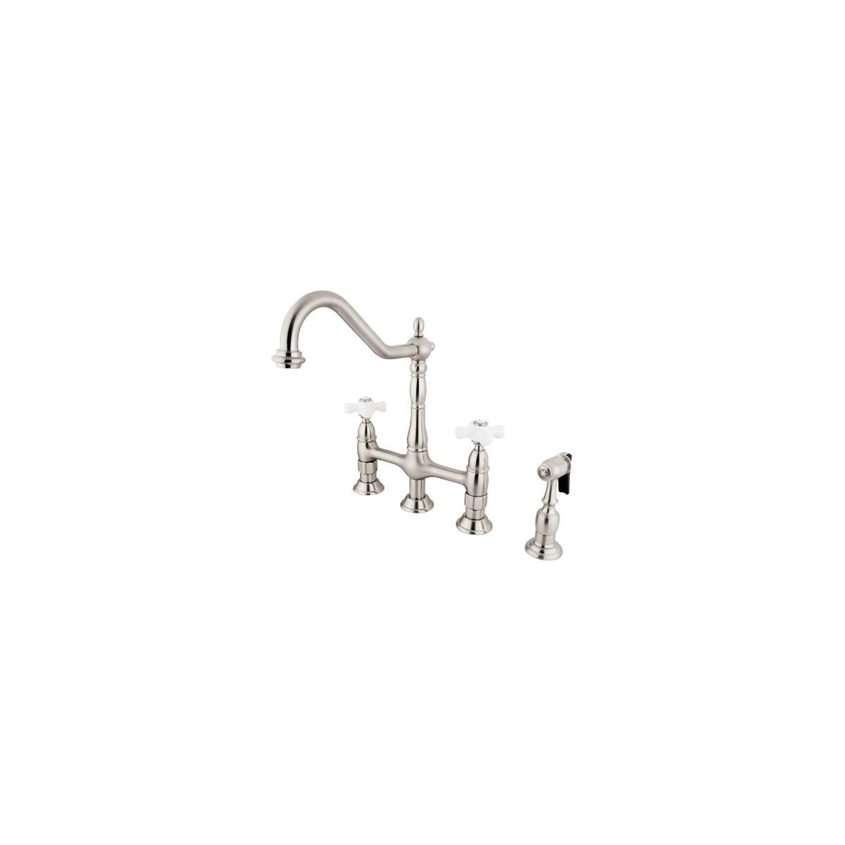 Kingston Br Ks1273pxbs Vintage Heritage 1 8 Gpm Double Handle Bridge Style Kitchen Faucet Includes Side Spray