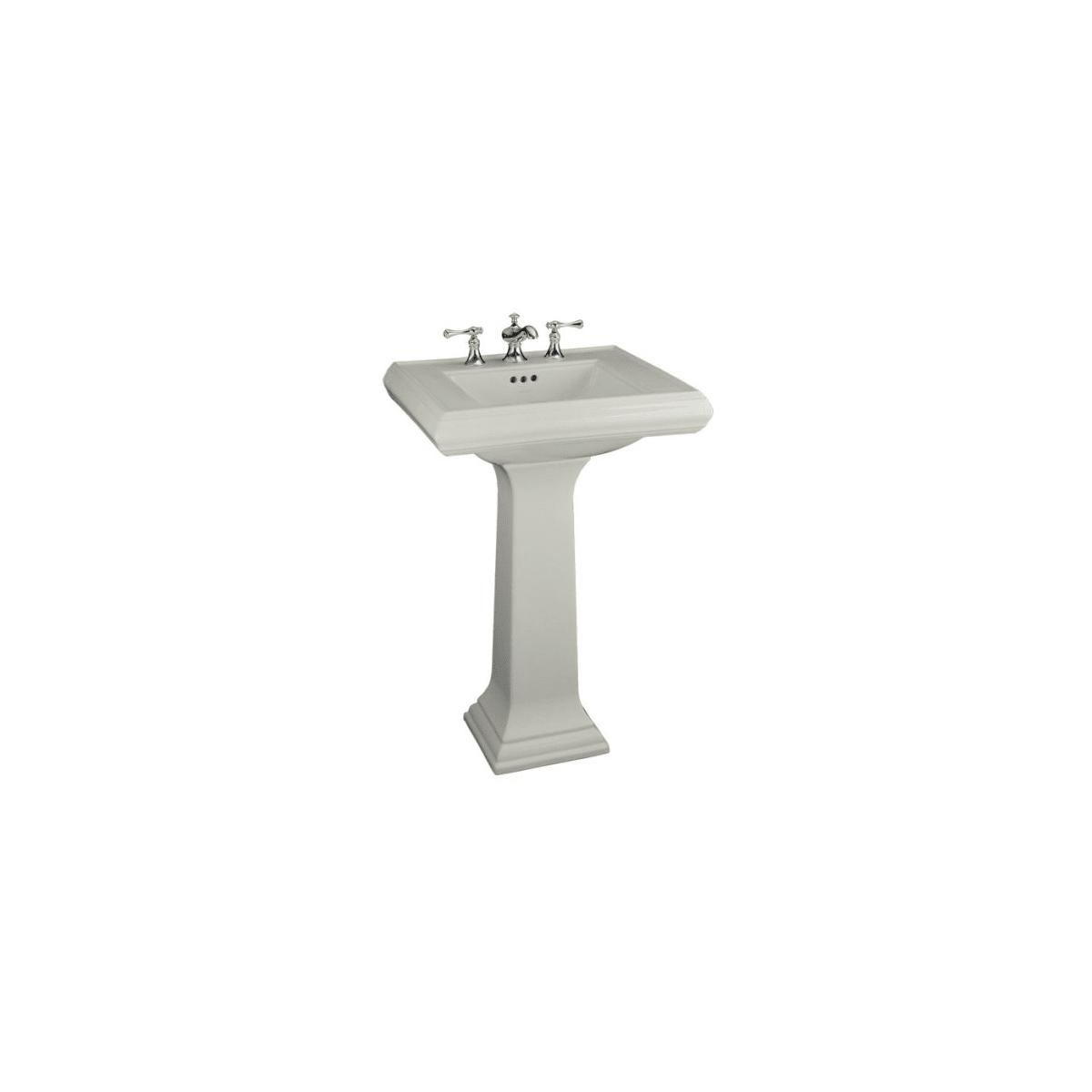 White KOHLER K-2238-4-0 Memoirs Pedestal Bathroom Sink with 4 Centers and Classic Design