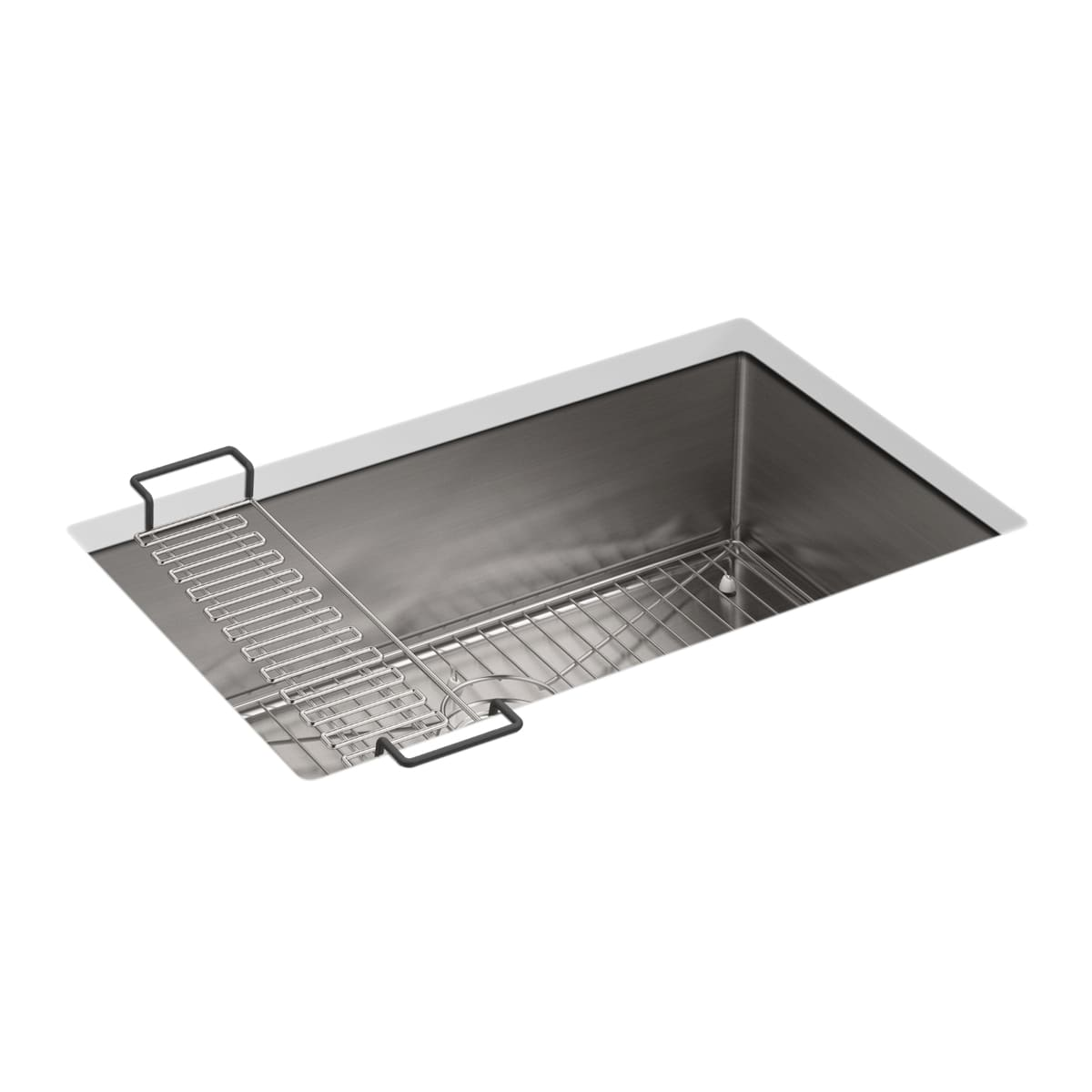 Kohler K 5409 Na Stainless Steel Strive 29 Single Basin Undermount 16 Gauge Stainless Steel Kitchen Sink With Silentshield With Basin Rack And Utility Shelf Faucetdirect Com
