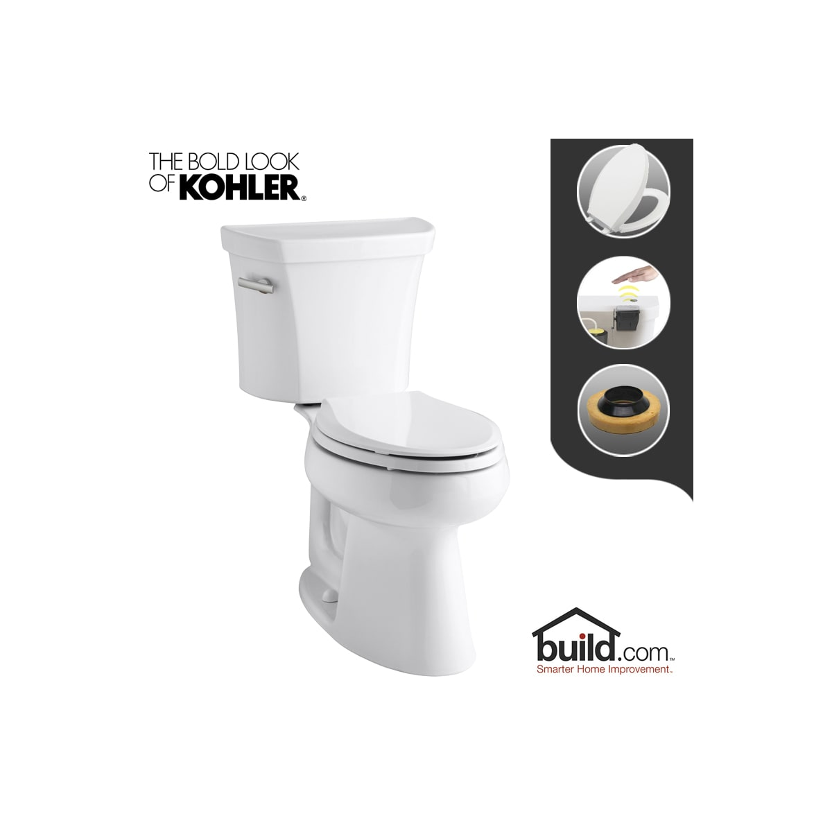 Cool Kohler K 3979 0 Touchless White Highline 1 6 Gpf Elongated Theyellowbook Wood Chair Design Ideas Theyellowbookinfo