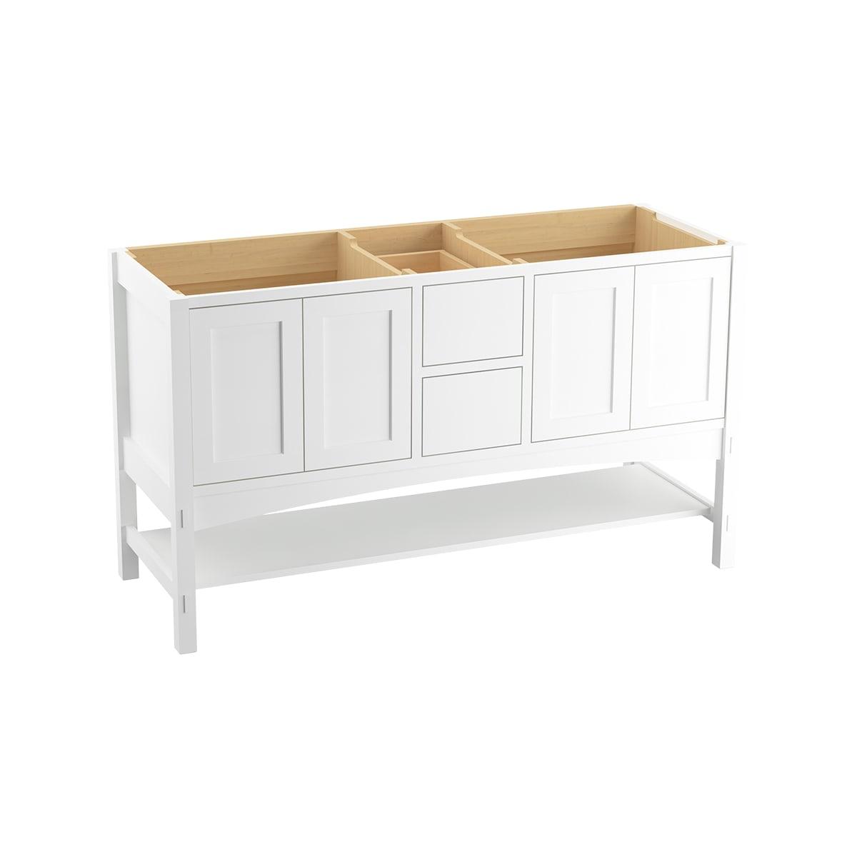Kohler K 99559 1wa Linen White Marabou 60 Vanity Cabinet Only Free Standing Installation Type Faucet Com