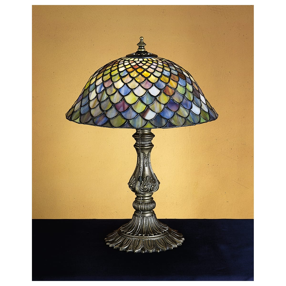 Meyda Tiffany 26673 Tiffany Glass Stained Glass Tiffany Accent Table Lamp From The Tiffany Fishscale Collection Lightingdirect Com