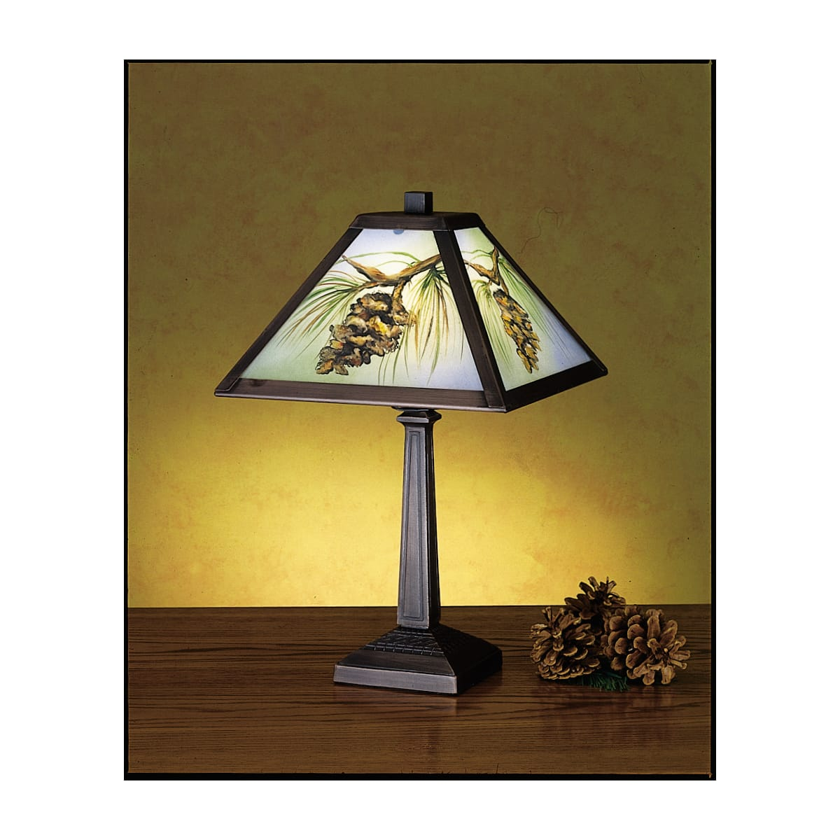 Meyda Tiffany 27498 Tiffany Glass Accent Table Lamp From The Pinecones Collection Lightingshowplace Com