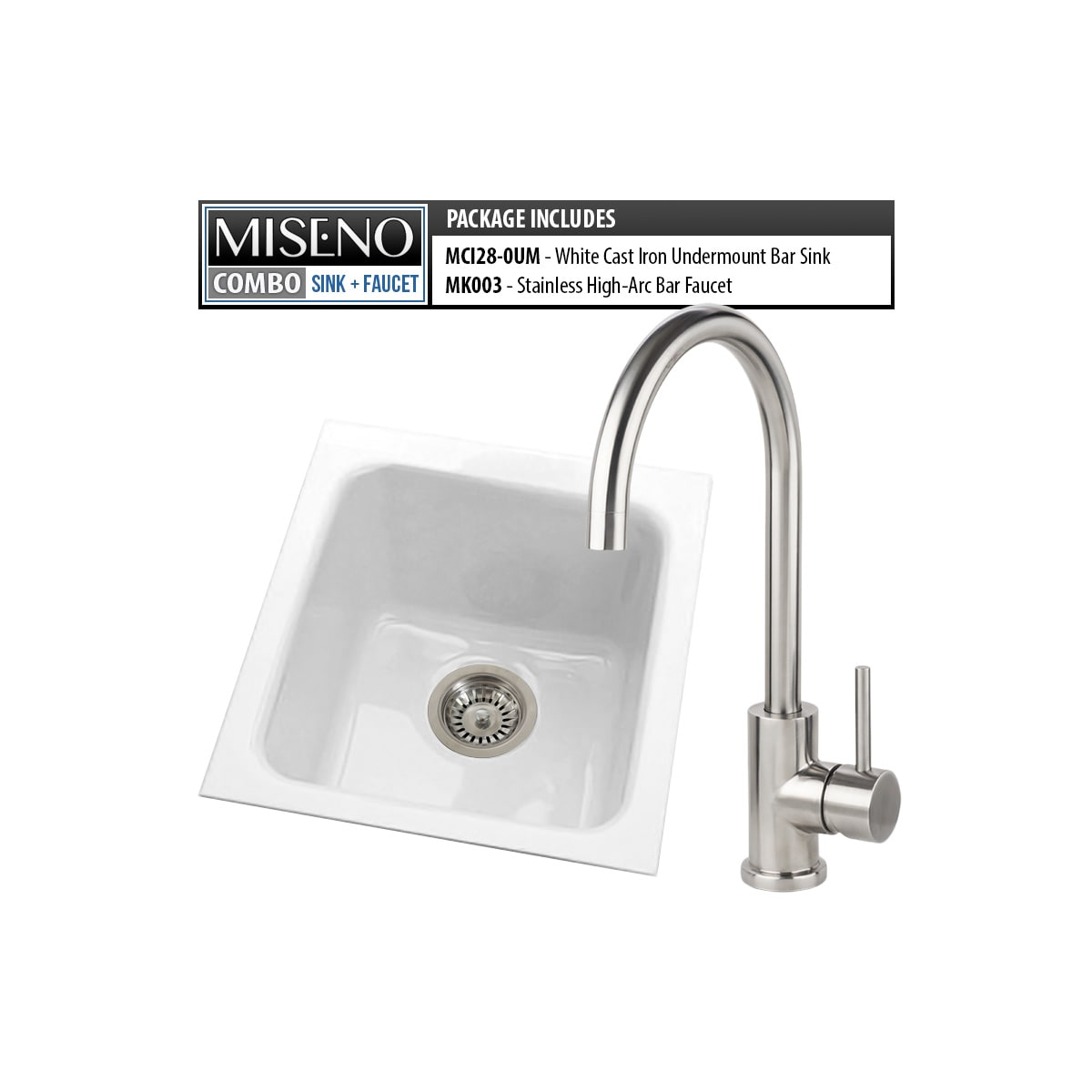 Miseno Mci28 0um 20 Mk003 B White Brushed Stainless Bar Combo