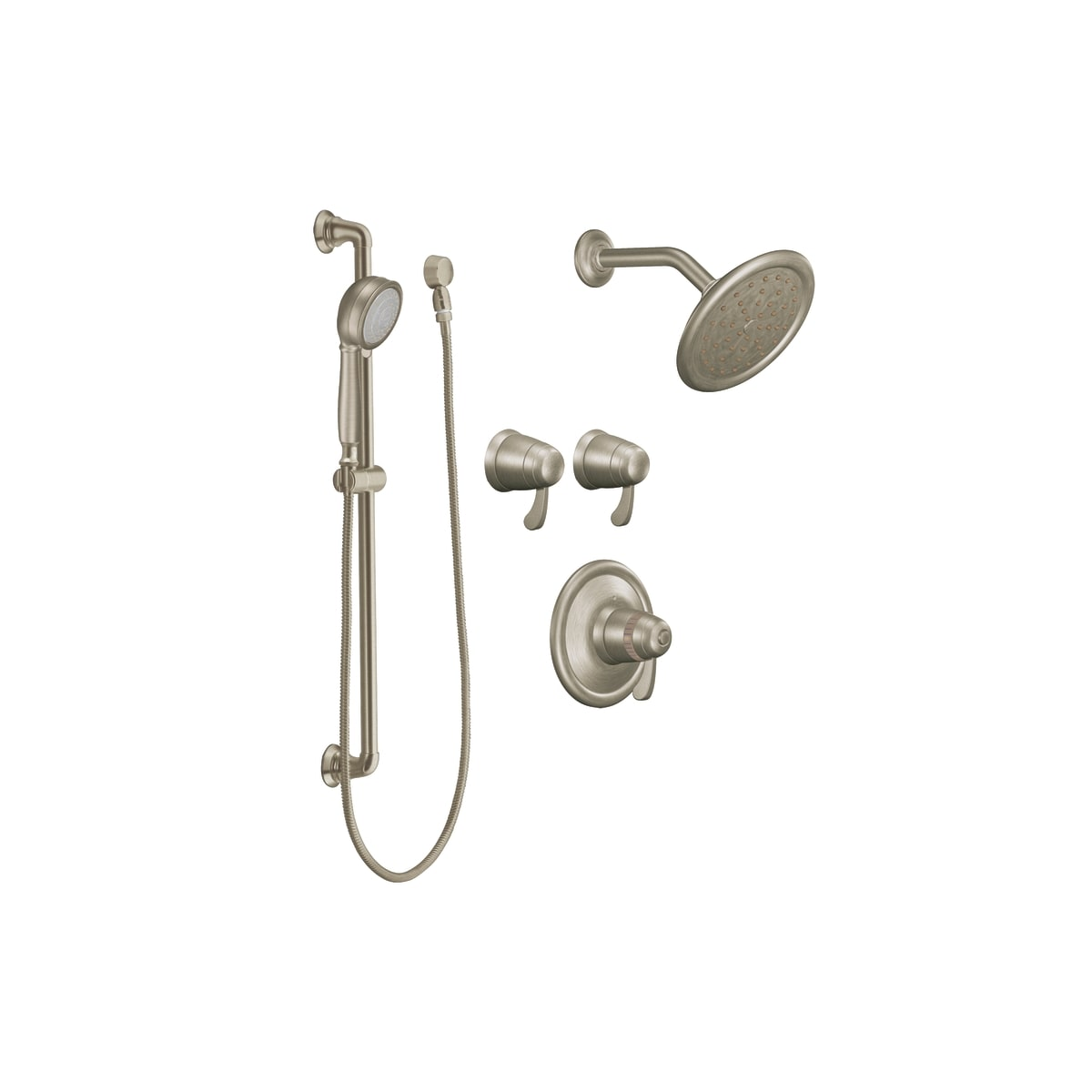 Moen Brushed Nickel Triple Handle Vertical Spa Trim With Hand Shower From  The Exacttemp Collection Jpg