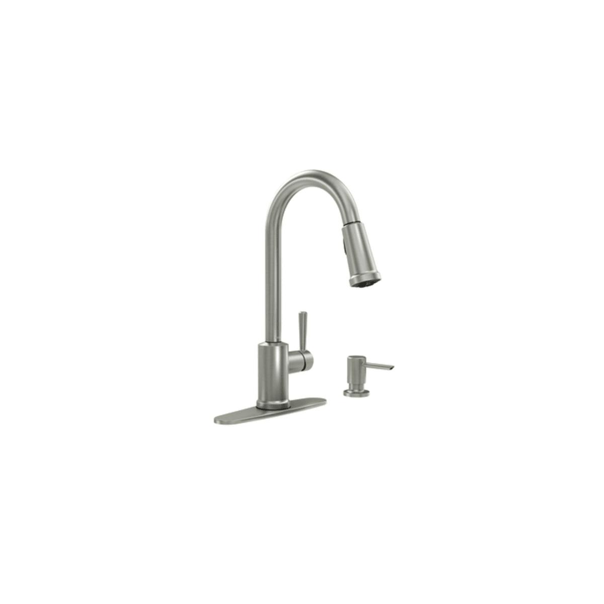 Moen 87090bl Matte Black Indi Pullout Spray High Arc Kitchen Faucet Includes Soap Dispenser Faucet Com