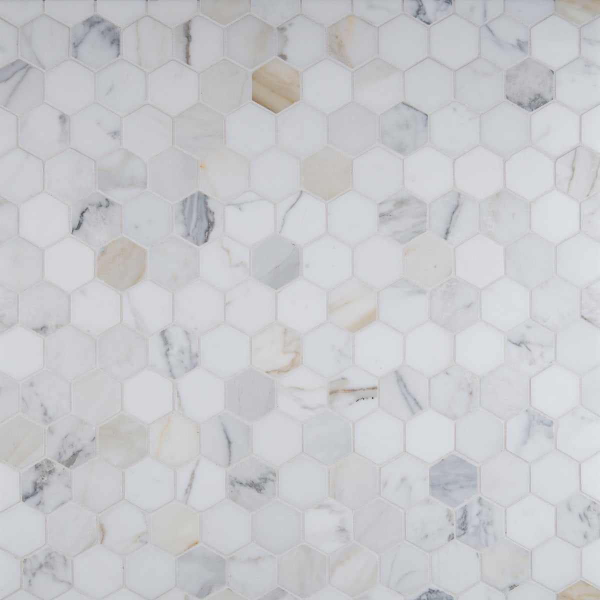 "Calacatta Gold 2"" hex tile mosaic"