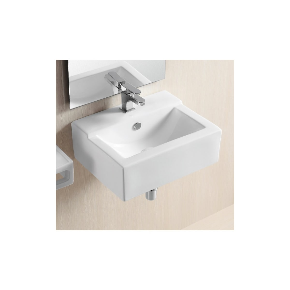 Nameeks Caracalla Ca4103c One Hole White Caracalla 18 9 10 Ceramic Wall Mounted Bathroom Sink With 1 Faucet Hole And Overflow Faucet Com