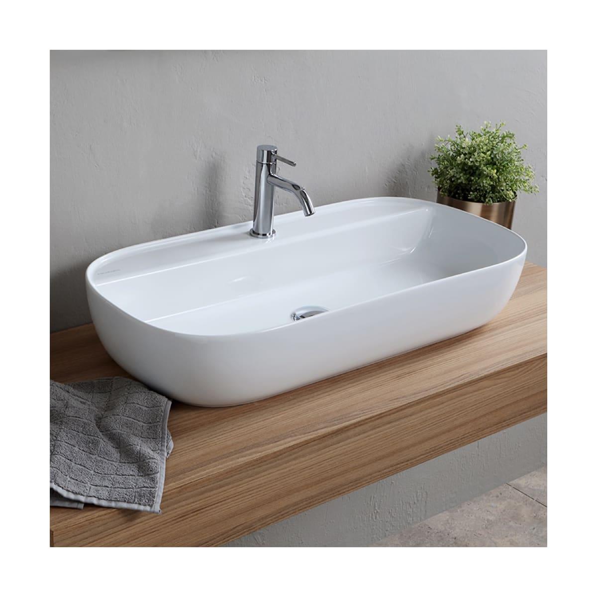 Nameeks Scarabeo 1801 Three Hole White Glam 30 Rectangular Ceramic Vessel Bathroom Sink Faucetdirect Com