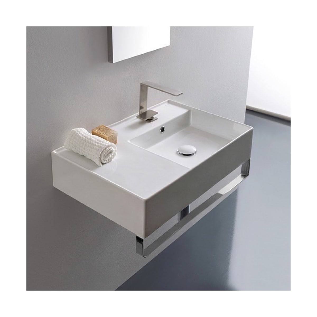 Nameeks Scarabeo 5117 Tb One Hole White Teorema 2 0 24 Rectangular Ceramic Wall Mounted Bathroom Sink With Faucet Includes Overflow Faucetdirect Com