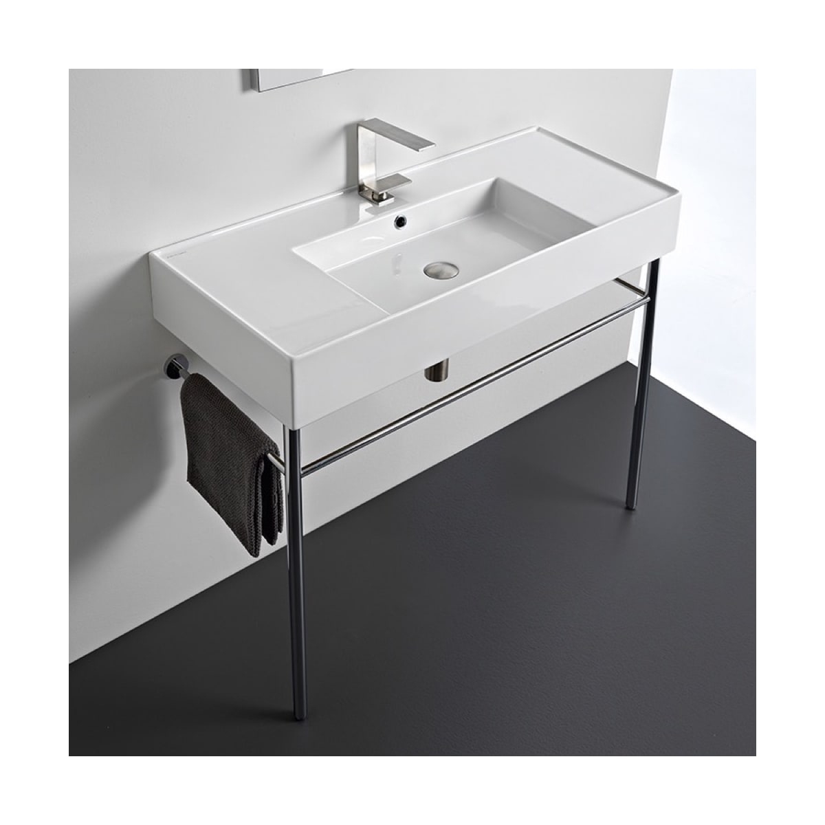 Nameeks Scarabeo 5124 Con Three Hole White Teorema 2 0 40 Rectangular Ceramic Console Bathroom Sink With Overflow Faucetdirect Com