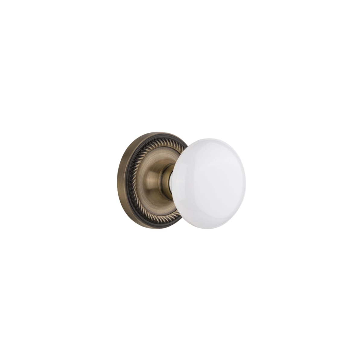 Nostalgic Warehouse 709727 Antique Brass White Porcelain Solid Brass Passage Door Knob Set With Rope Rose And 2 3 4 Backset Faucetdirect Com