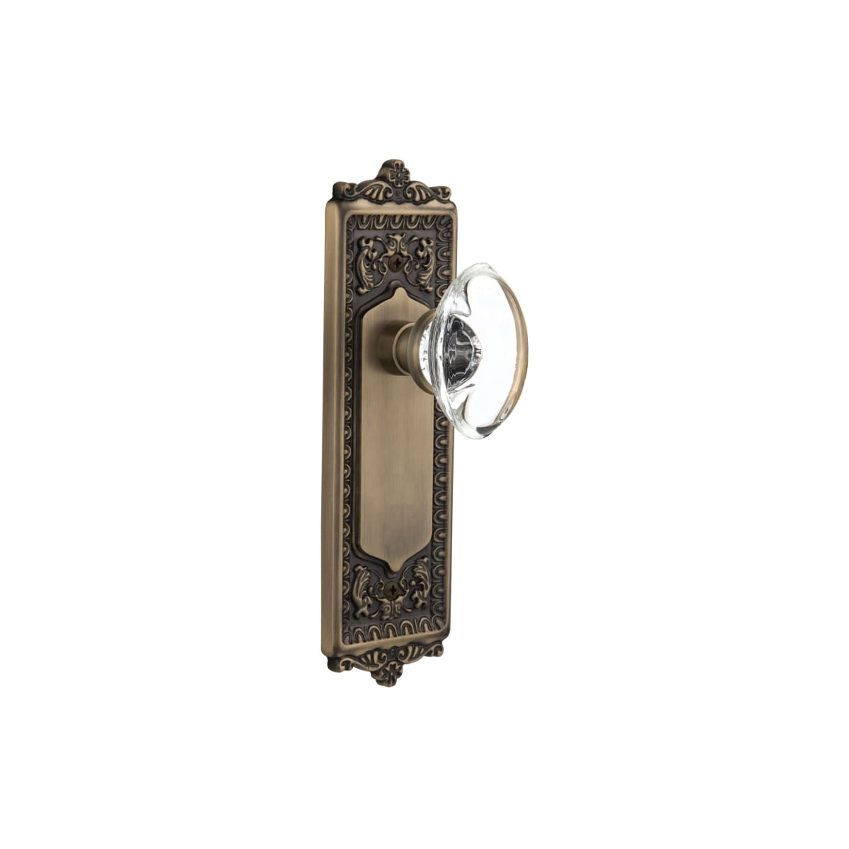 Nostalgic Warehouse 711423 Antique Brass Vintage Oval Egg Clear Crystal Single Dummy Door Knob With Solid Brass Victorian Egg And Dart Back Plate Faucetdirect Com