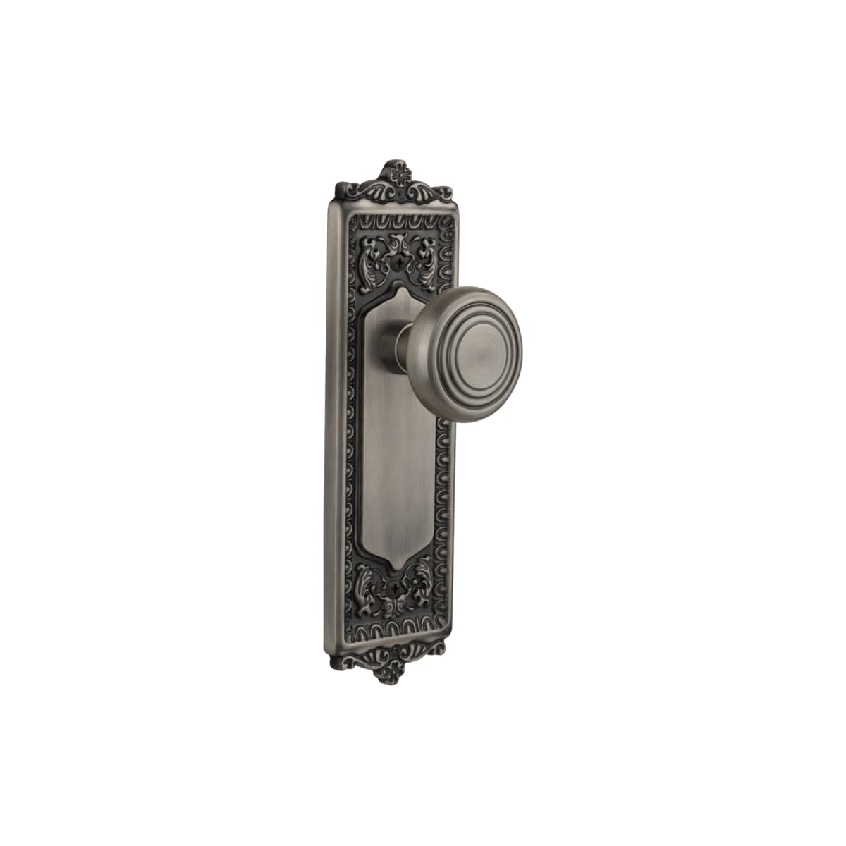 Nostalgic Warehouse 714976 Antique Pewter Vintage Art Deco Solid Brass Privacy Door Knob Set With Victorian Egg And Dart Plate And 2 3 4 Backset Faucetdirect Com