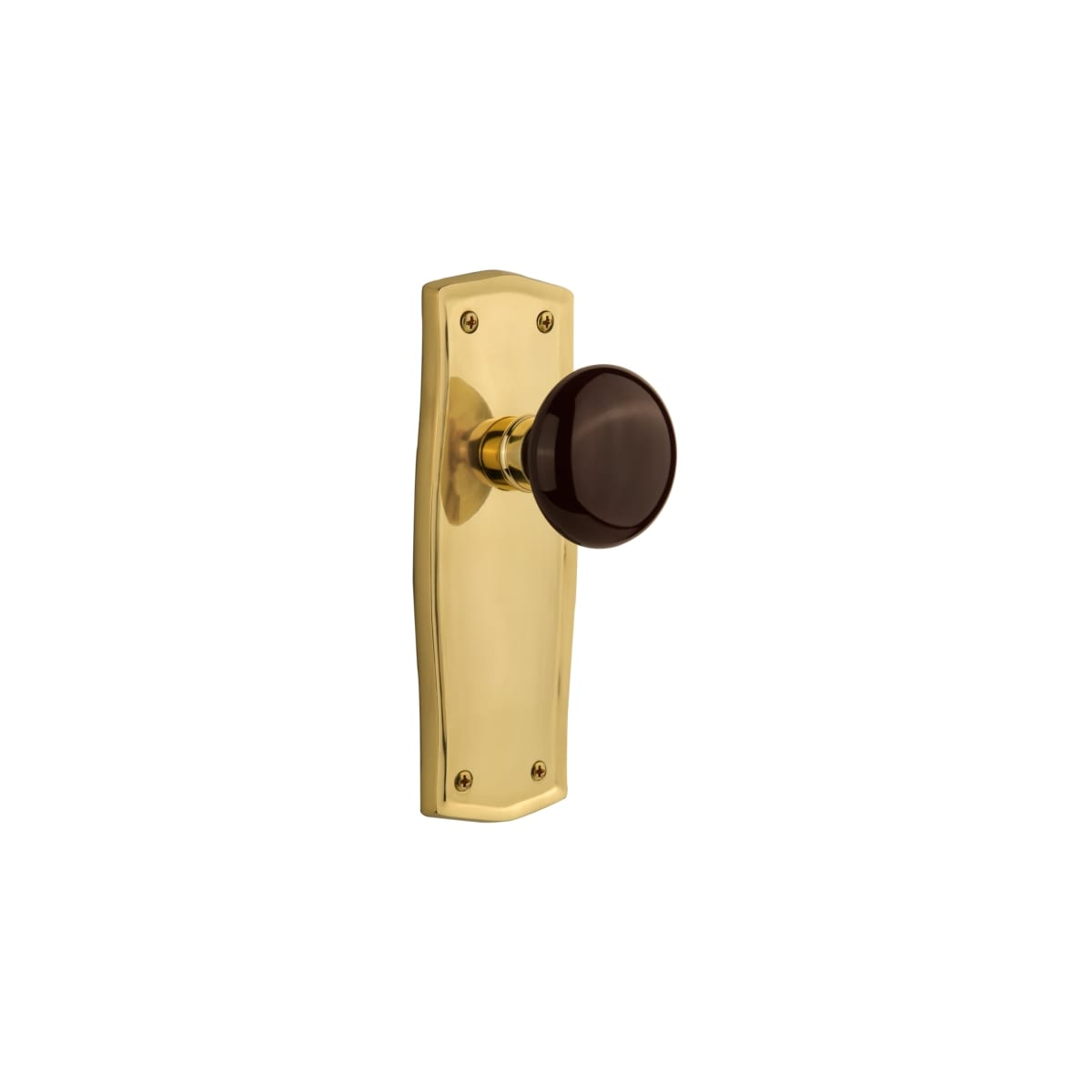 Nostalgic Warehouse 717446 Polished Brass Brown Porcelain Solid Brass Privacy Door Knob Set With Prairie Rose And 2 3 4 Backset Pullsdirect Com