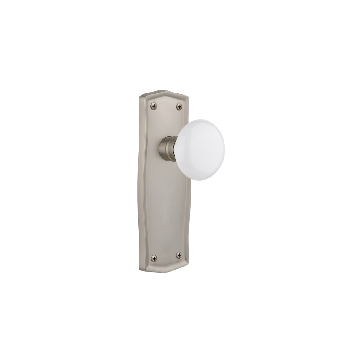 Nostalgic Warehouse 717574 Satin Nickel Vintage Farmhouse White Porcelain Privacy Door Knob Set With Solid Brass Backplate And 2 3 4 Backset Faucetdirect Com