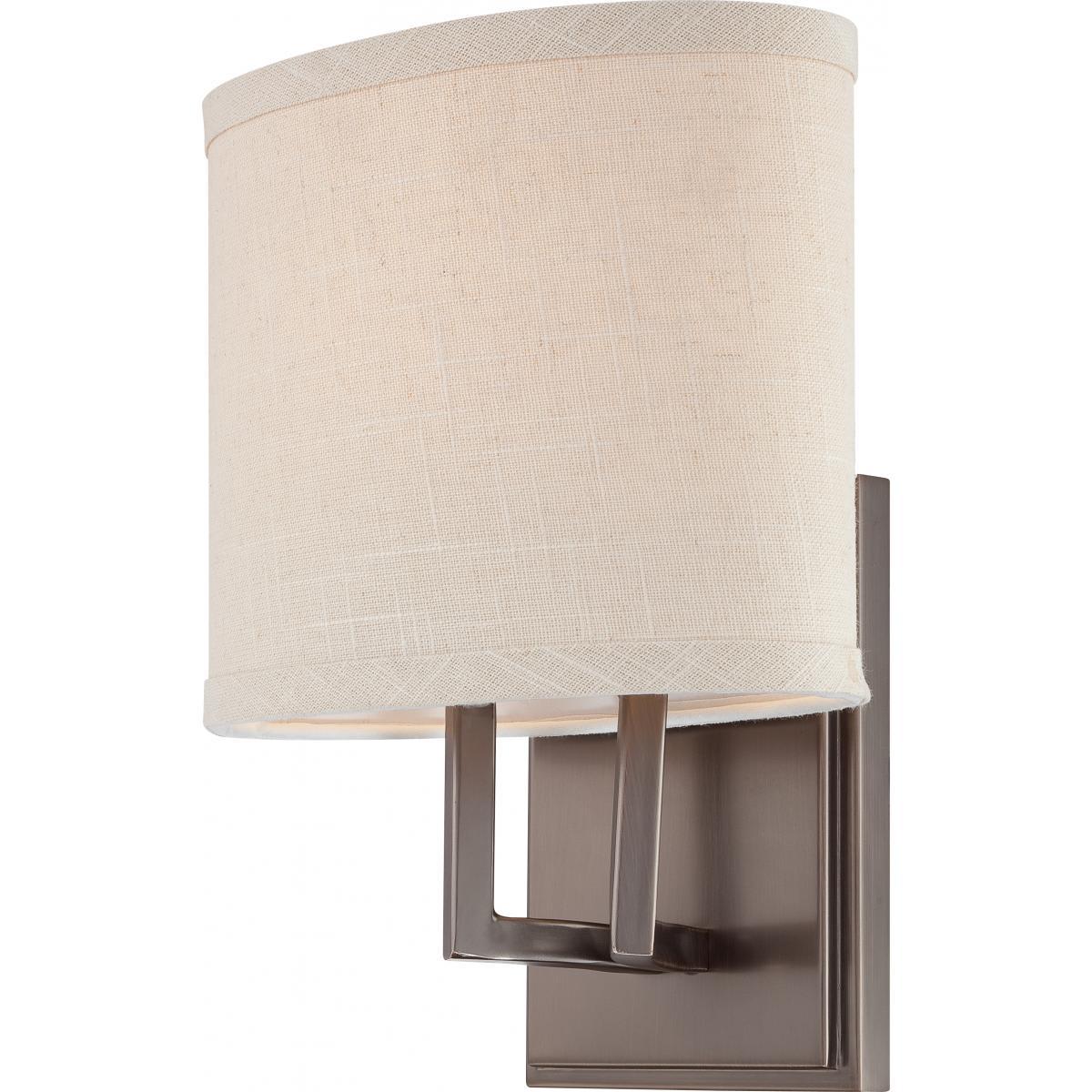 Nuvo Lighting 60 4851 Hazel Bronze Gemini Single Light 8 Wide Bathroom Sconce With Woven Fabric Shade Lightingdirect Com