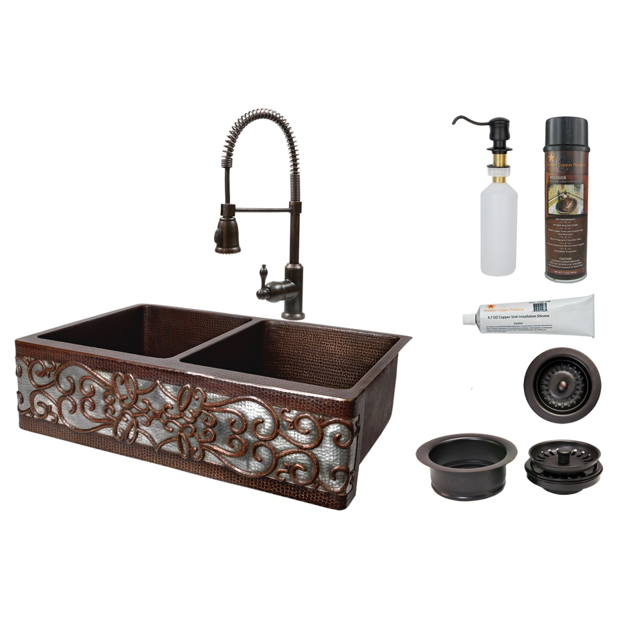 Oil Rubbed Bronze Farmhouse Sink.Premier Copper Products Ksp4 Ka50db33229s Nb