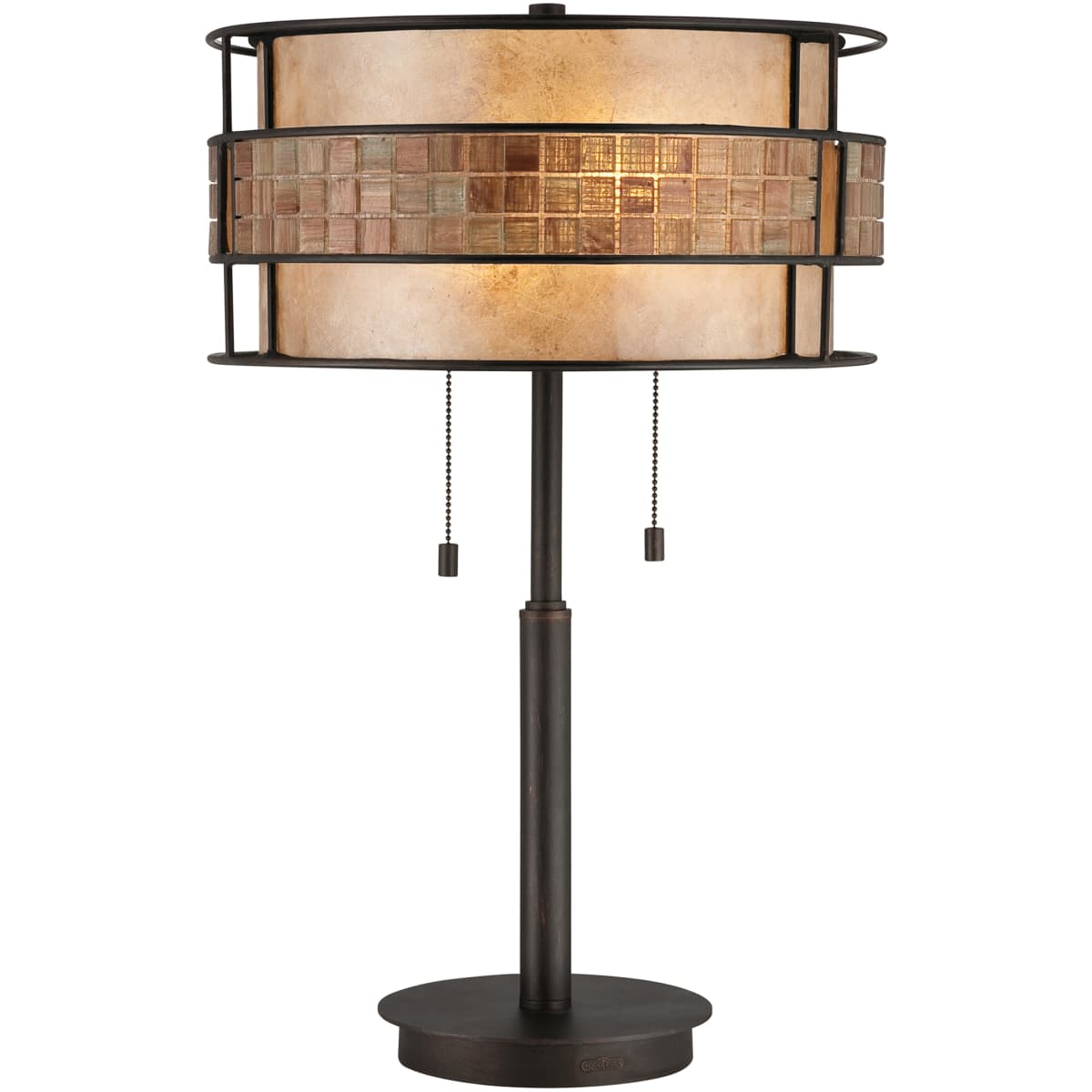 Quoizel Mc842trc Renaissance Copper Laguna 2 Light 25 Tall Table Lamp With Oyster Mica And Mosaic Tile Shade Lightingshowplace Com