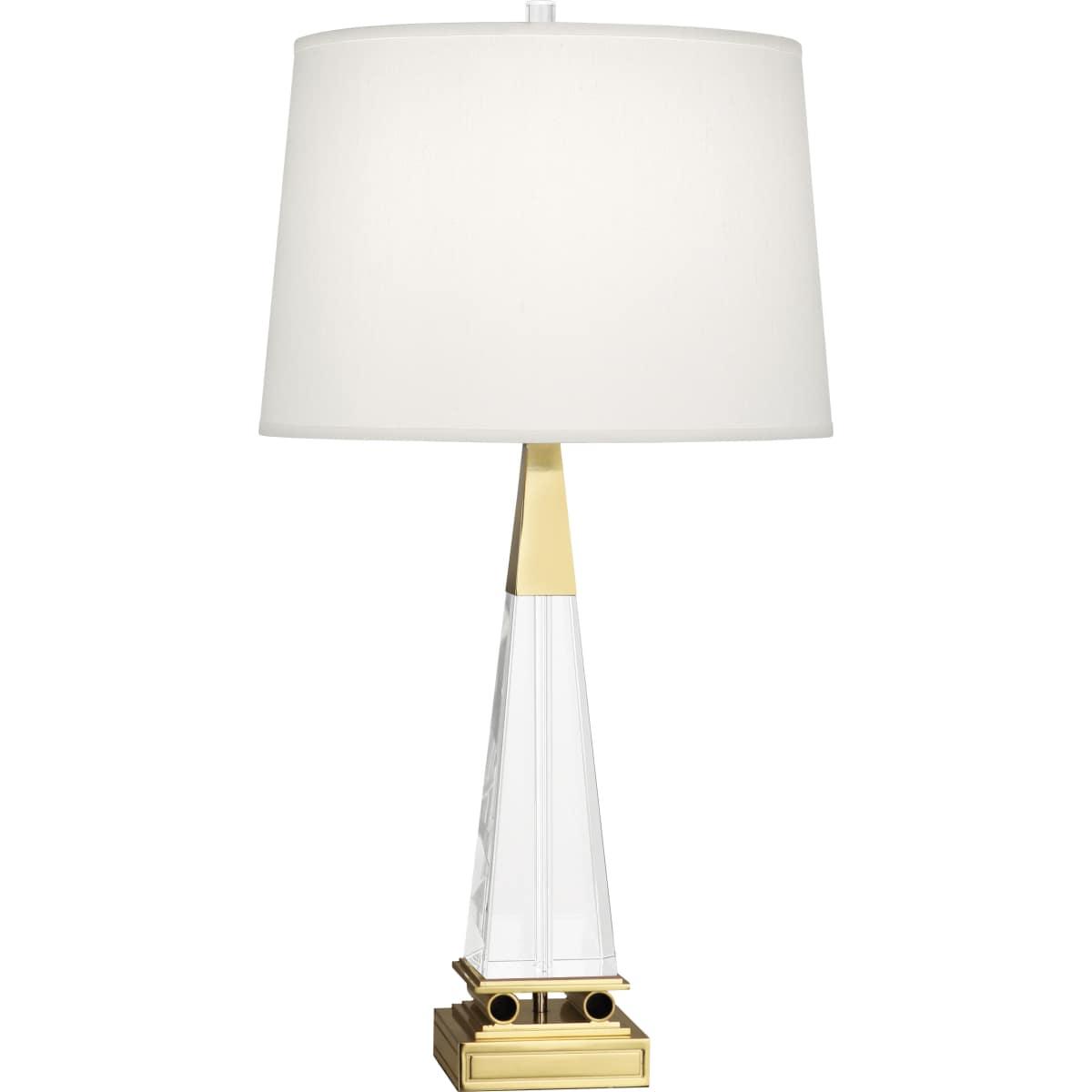 Robert Abbey 156 Modern Brass Darius 29 Column Table Lamp With A Dupioni Fabric Shade Lightingshowplace Com