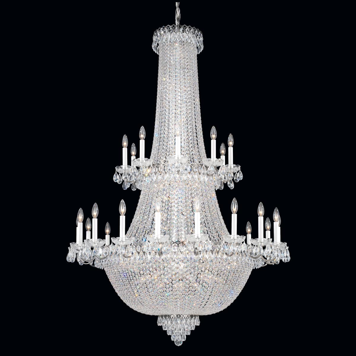 Schonbek 2643 40 Polished Silver Camelot 84 Light 42 Wide Crystal Chandelier With Clear Gemcut Crystals