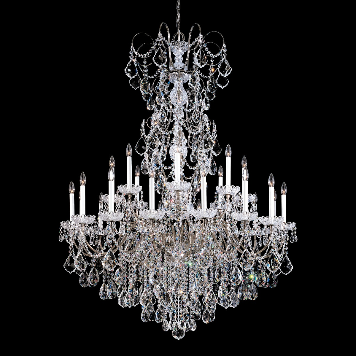 Schonbek 3662 49tk Black Pearl New Orleans 24 Light 48 Wide Crystal Chandelier With Golden Teak Swarovski Crystals Lightingshowplace Com