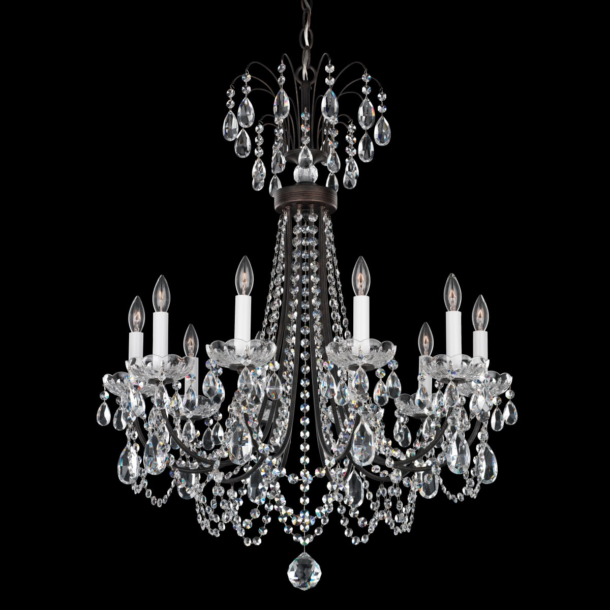Schonbek Lu0003n 76h Heirloom Bronze Lucia 10 Light 25 Wide Crystal Chandelier With Clear Swarovski Heritage Crystals Lightingshowplace Com
