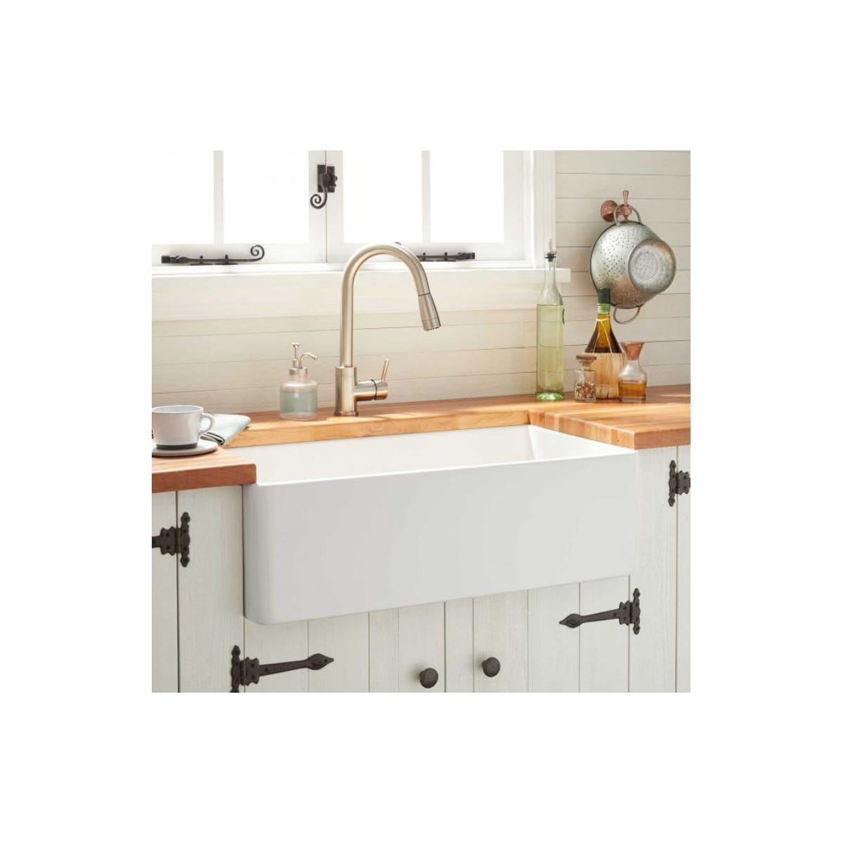 Reinhard Signature Hardware fireclay farm sink.