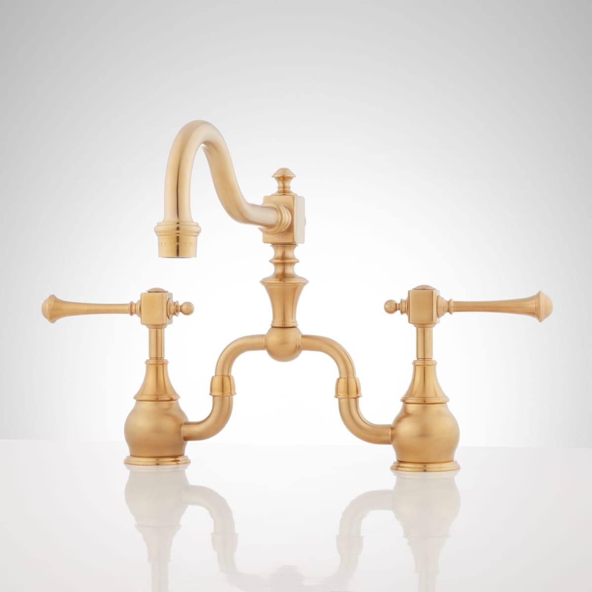 Signature Hardware Vintage Bridge Kitchen Faucet in Polished Brass