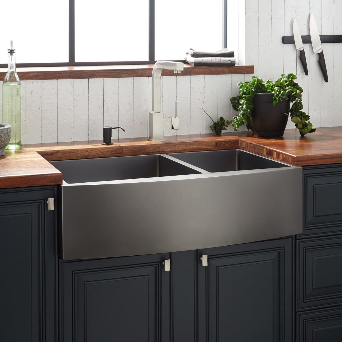 """Shop Atlas 33"""" Farmhouse Double Basin Stainless Steel Kitchen Sink from Build.com on Openhaus"""