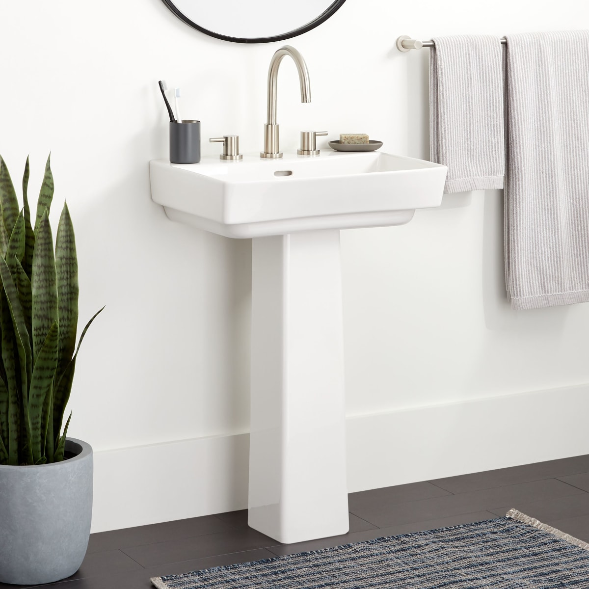 Signature Hardware 459529 White Pentero 23 Fireclay Pedestal Bathroom Sink With 3 Faucet Holes And 8 Centers Faucetdirect Com