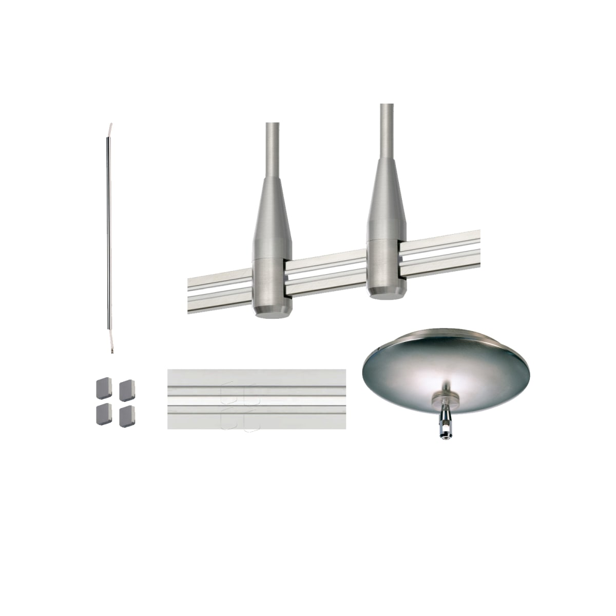 Tech Lighting 48 Mono 24 300w M Satin Nickel 48 Monorail Kit With 2 24 Stand Offs 24 Power Extender End Caps And 300w 9 1 Round Magnetic Transformer Canopy Lightingshowplace Com