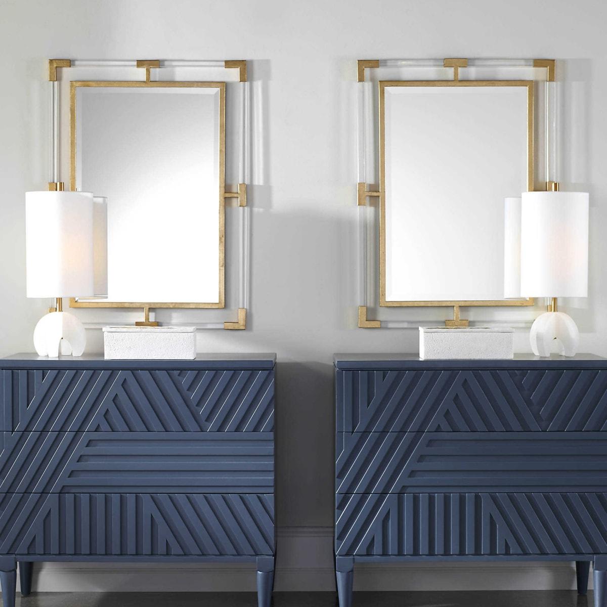 Uttermost 09124 Gold Leaf Balkan Urban Modern Bathroom Mirror With Acrylic And Gold Frame Lightingdirect Com