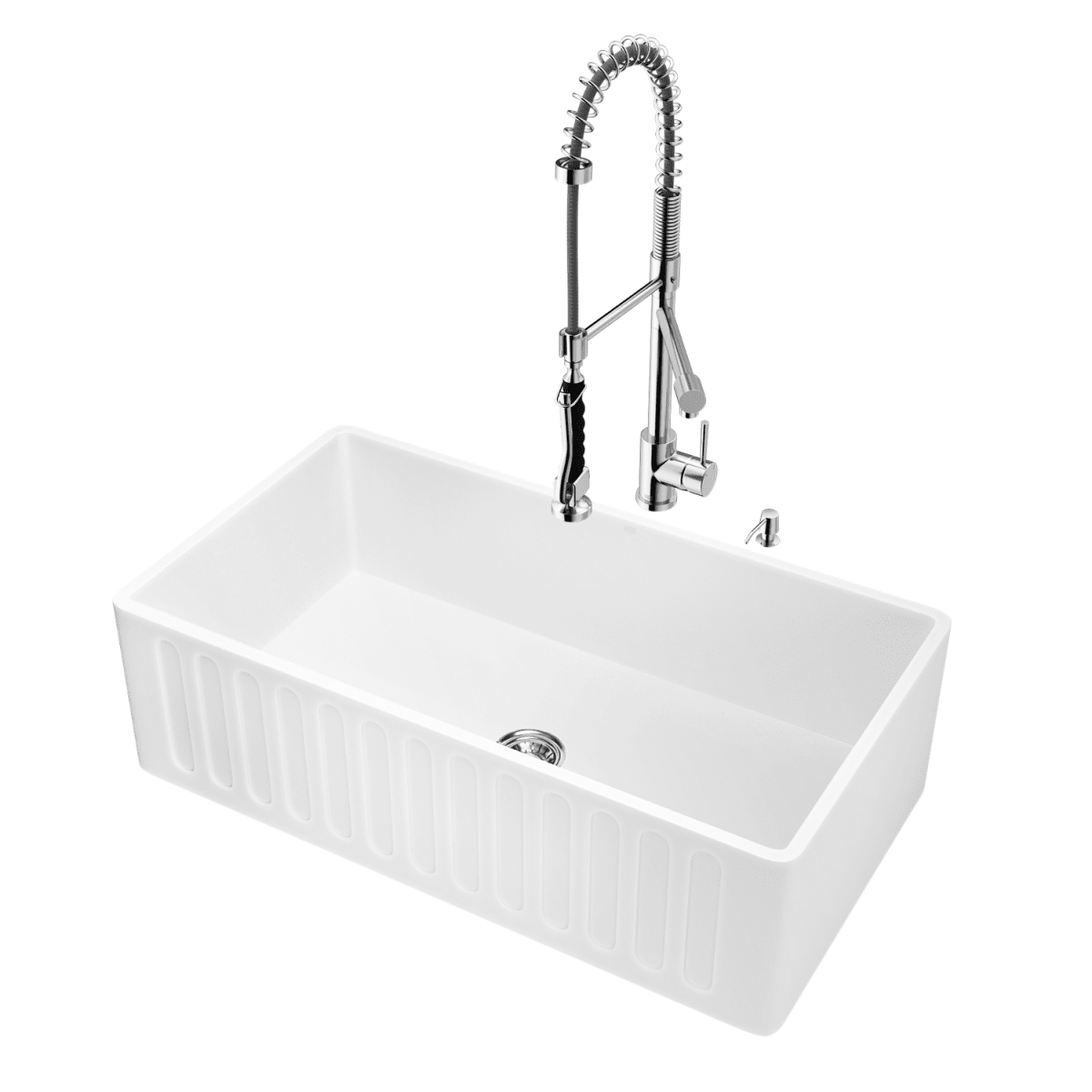 Vigo Vg15457 Stainless Steel Chrome 33 Single Basin Farmhouse Matte Stone Kitchen Sink With Zurich Chrome Faucet Soap Dispenser Basket Strainer And Cutting Board Faucetdirect Com