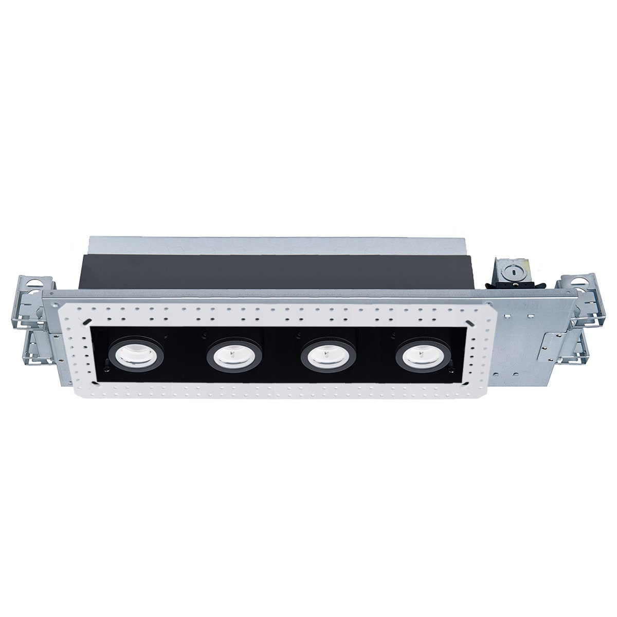 Wac Lighting Mt 4415l 935 Wtbk White Black 3500k Silo Multiples 4 Light 22 Wide Led Square Adjustable And Invisible Trim With New Construction And Non Ic Rated Housing 58 Watts Lightingdirect Com