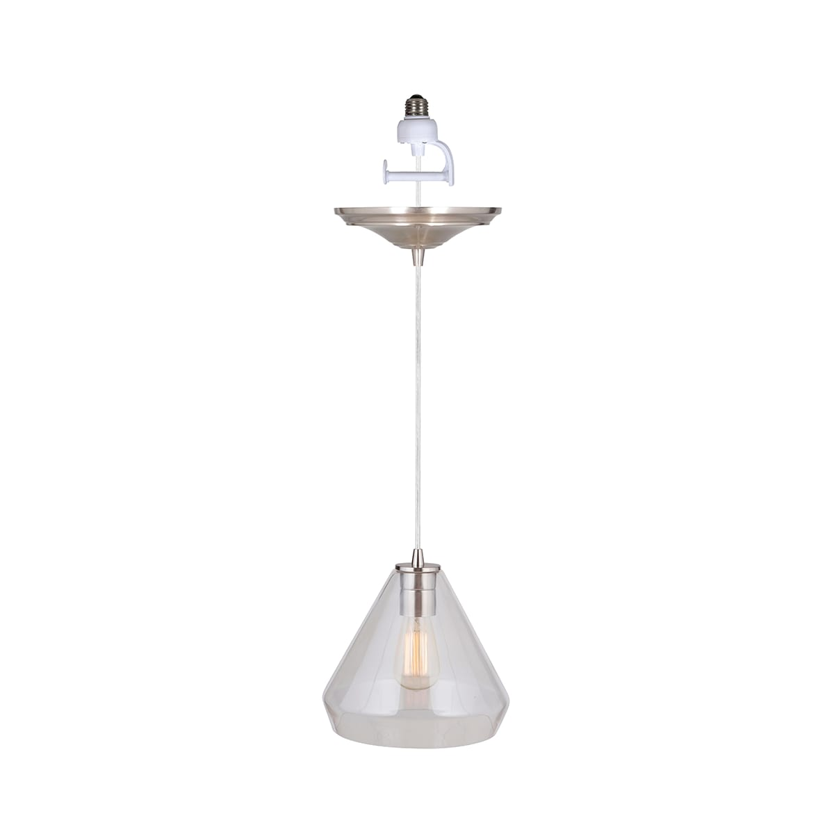 Worth Home Products Pbn 6003 0700 Brushed Nickel Instant Pendant Light For Shades Single Light 10 Wide Instant Pendant With Clear Glass Shade Lightingdirect Com