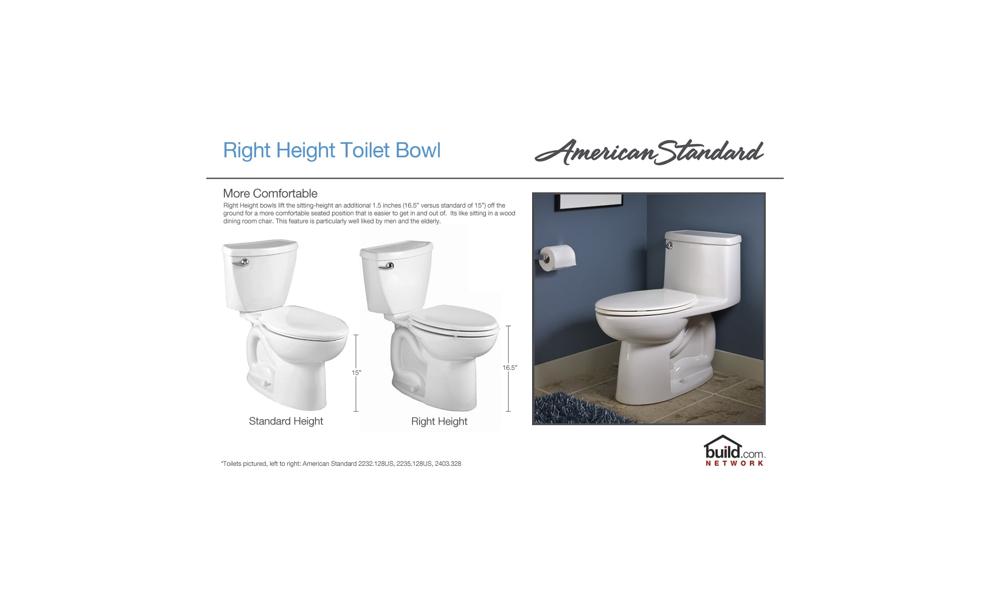 American Standard 3053.120.020 White Studio Right Height Round Front ...