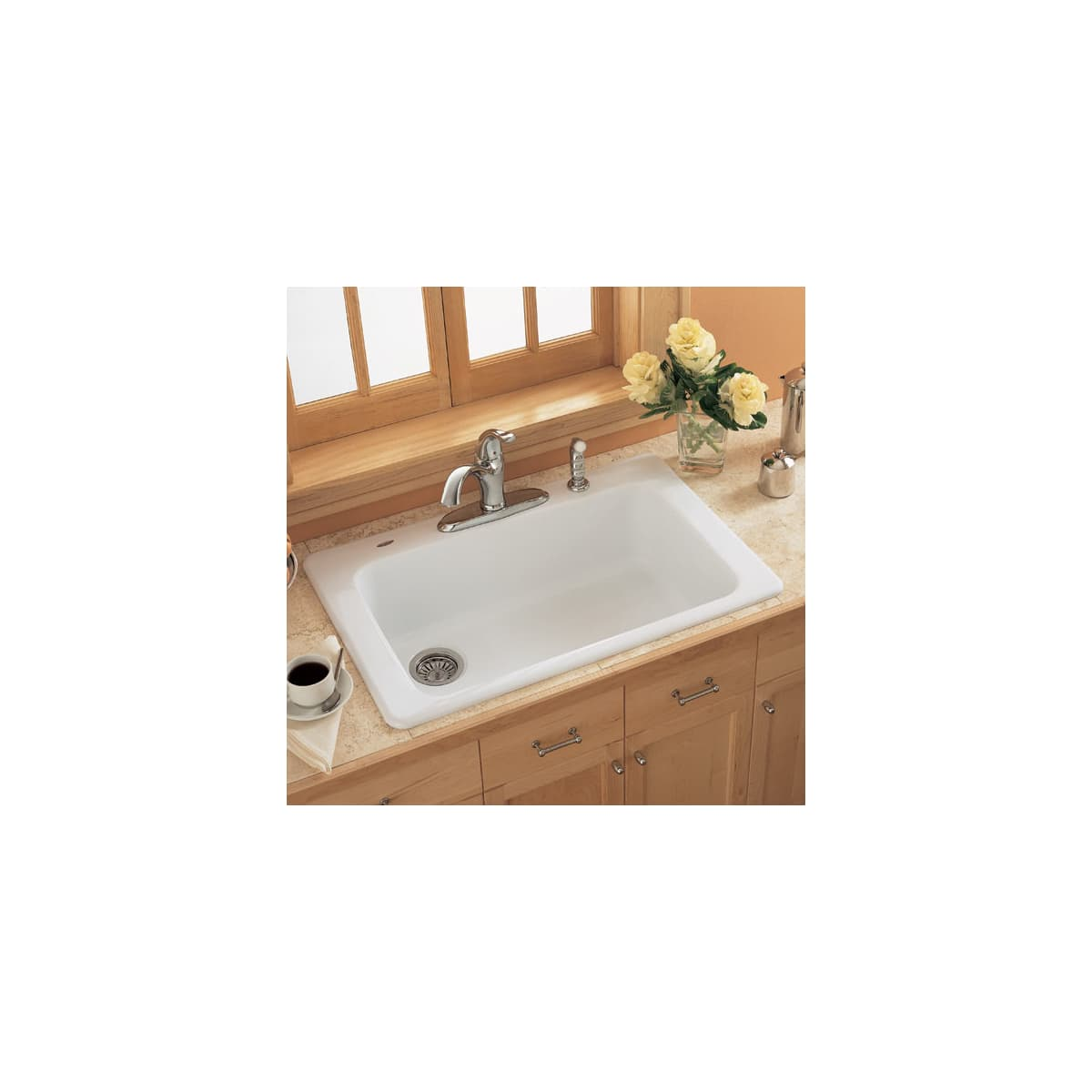 American Standard 7193 804 345 Bisque Single Basin Americast Kitchen Sink From The Lakeland Series Faucet