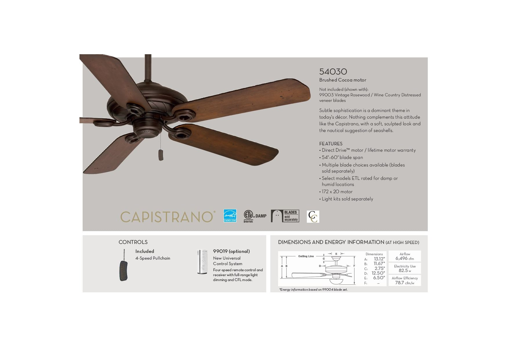 Casablanca 54030 Brushed Cocoa Capistrano 54 60 5 Blade Energy Star Ceiling Fan Wiring Diagram Blades Sold Separately