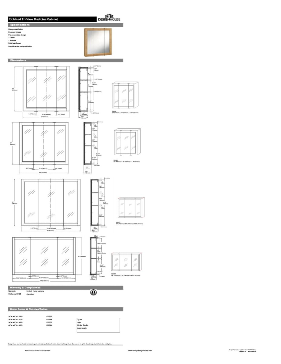 Design House 530576 Nutmeg Oak 36 Framed Triple Door Mirrored