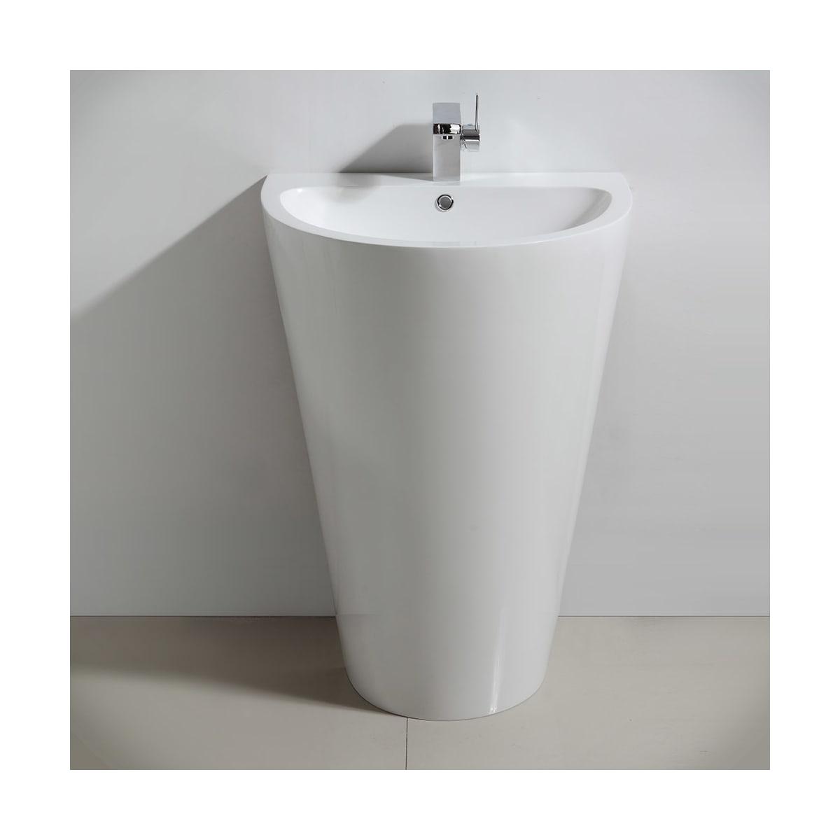 Fresca Fcb5023wh White Parma 24 Pedestal Bathroom Sink With Single Faucet Hole And Overflow Faucet Com