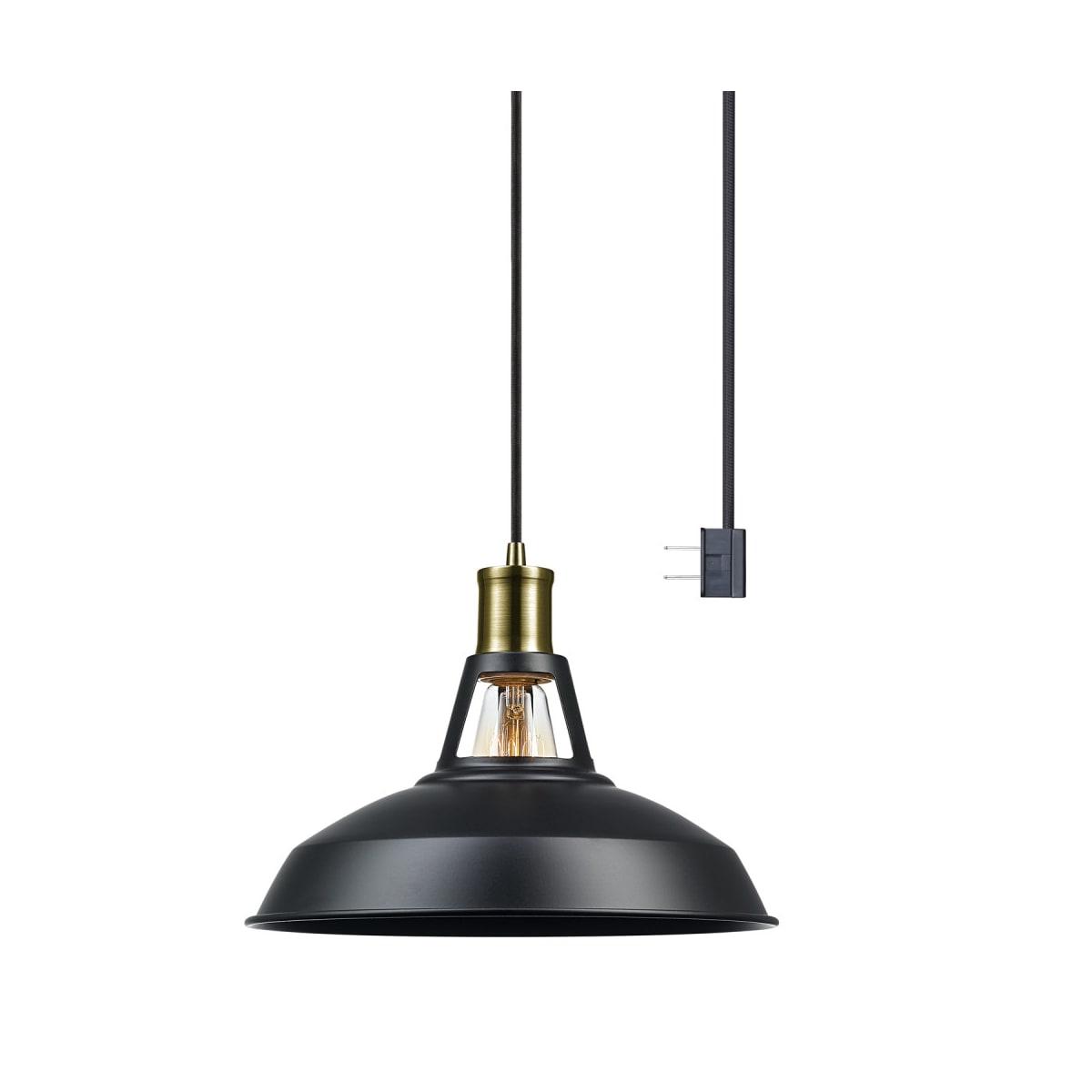 Globe Electric 65712 Satin Black Robin 1 Light Plug In Or Hardwire Pendant With 15 Feet Black Woven Fabric Cord Lightingdirect Com