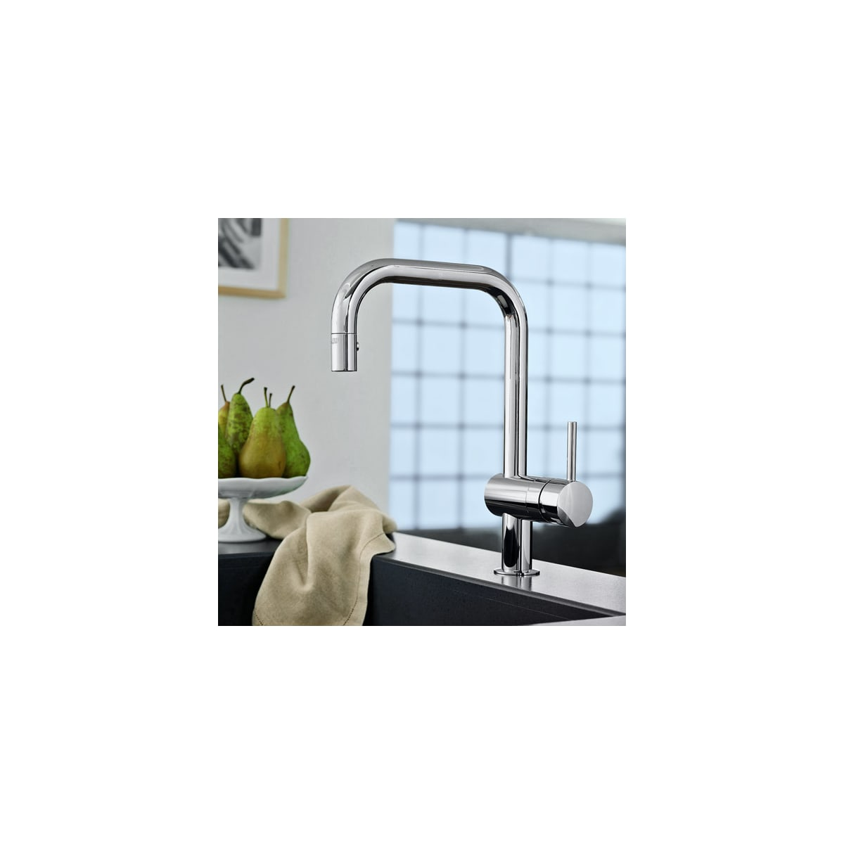 Grohe 32319000 Starlight Chrome Minta Pull Down Kitchen Faucet With 2 Function Locking Sprayer Faucet Com
