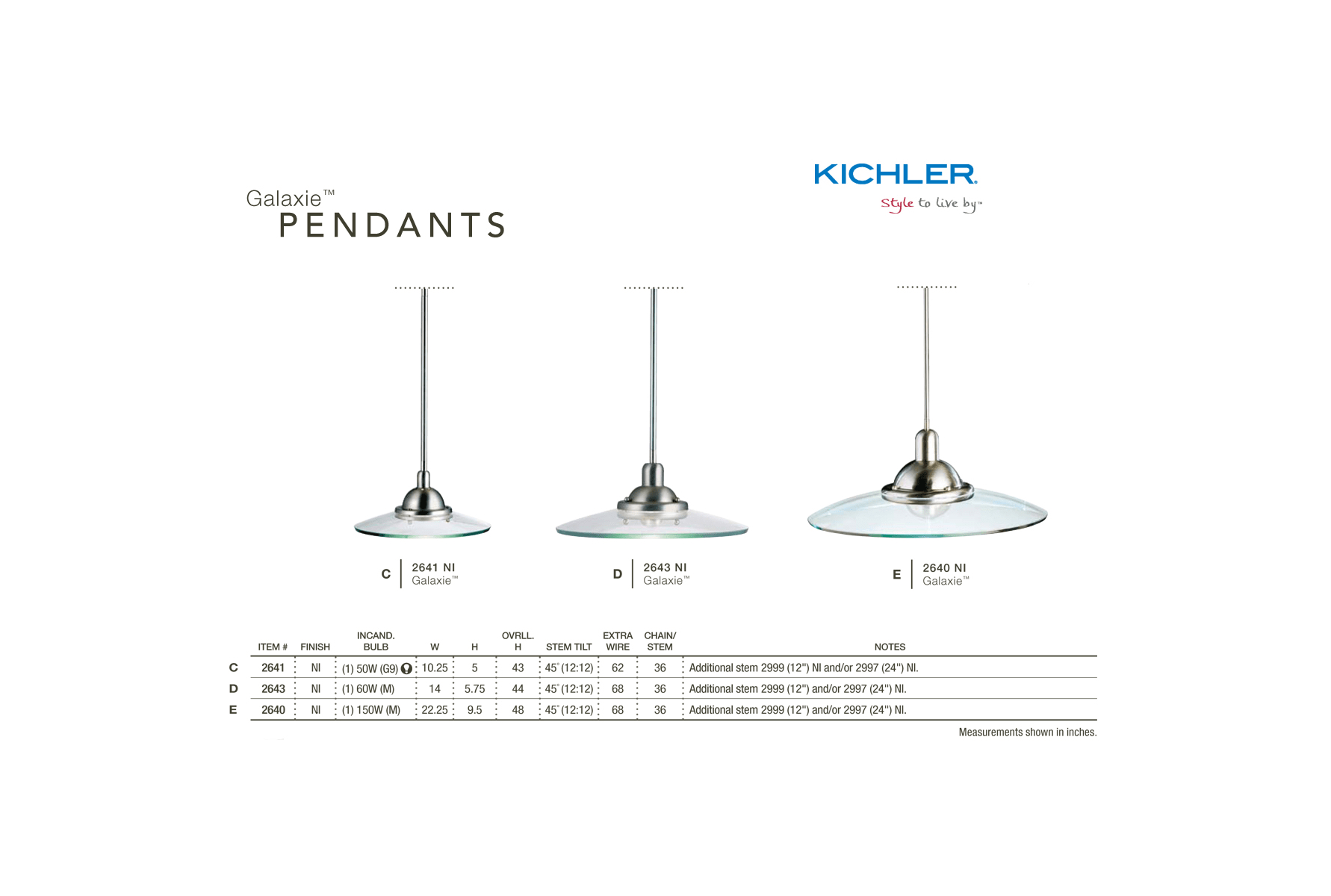 Kichler 2641ni Galaxie Single Bulb Indoor Pendant With Round Glass Wiring Diagram Shade Brushed Nickel